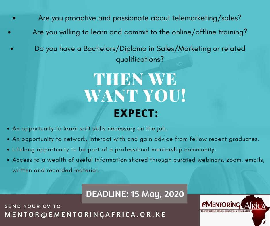 eMentoring Afica is hiring - Poster